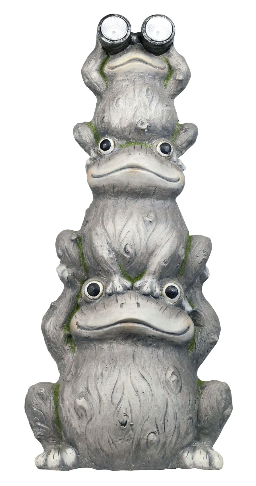 Alpine Solar Three Stack Frogs with LED Light Statue 1ea