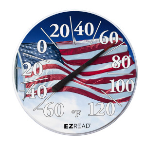 E-Z Read Dial Thermometer with Flag Red, White, Blue 6ea/12.5 in