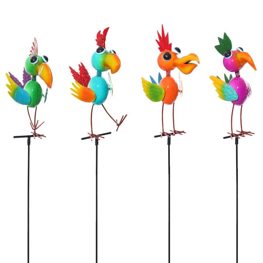 Alpine Metal Colorful Fun Bird Garden Stakes Assorted 12ea