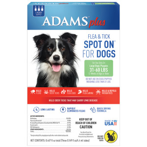 Adams Plus Fleas and Tick Prevention Spot On for Dogs Large Dogs 31-60 Pounds 6ea/3 Month Supply, Refill