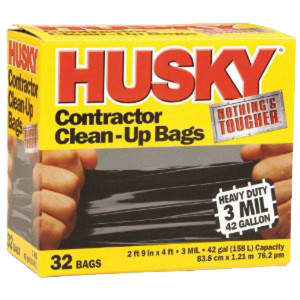 Husky Contractors Trash Bag Black 1ea/32 ct 42 gal