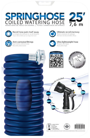 Plastair SpringHose Coiled Watering Hose with Nozzle Blue 5ea/25 ft