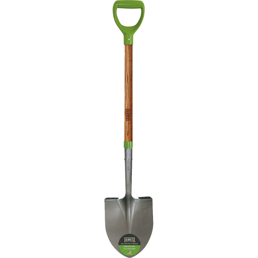 Ames D-Handle Round Point Digging Shovel Ash Wood Handle Brown 1ea
