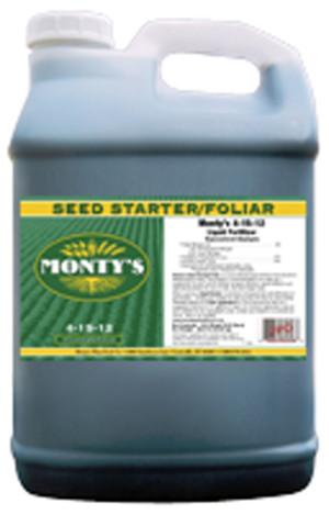 Monty's Seed Starter/Foliar Liquid Plant Food 4-15-12 2ea/2.5 gal