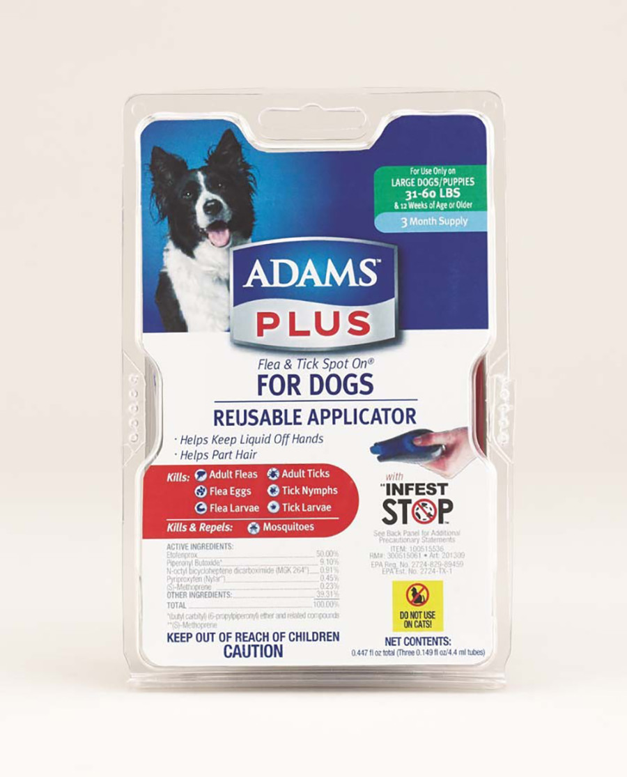 Adams Plus Flea & Tick Spot On Dog 3 Month with Applicator 1ea/Large