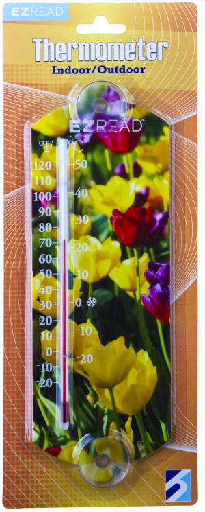 E-Z Read Thermometer Flowers Multi-Color 10ea/10 in