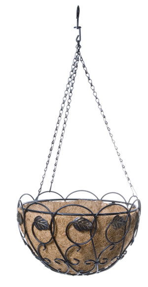Panacea Scroll & Ivy Hanging Basket w/ Leaves Black with Brushed Bronze 4ea/14 in