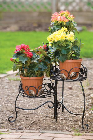 Panacea 3-Tier Folding Scroll & Ivy Plant Stand Black 1ea/21.5 in