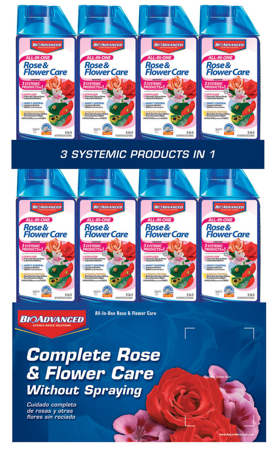 BioAdvanced All-In-One Rose & Flower Care Concentrate 9-14-9 48ea/32 fl oz