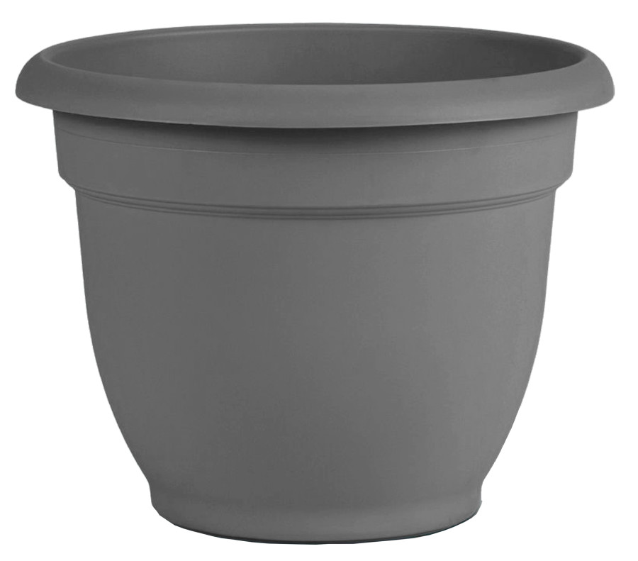 Bloem Ariana Planter with Grid Charcoal 10ea/12 in