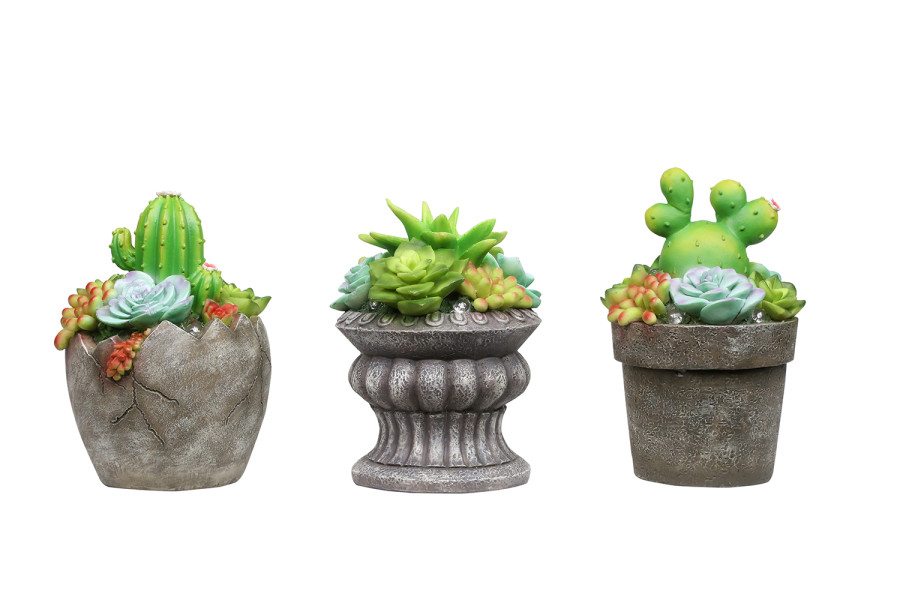 Alpine Solar Succulent Planters Decor with LED Lights Assorted 9ea/7 in