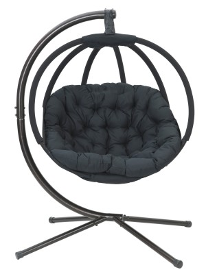FlowerHouse Overland Hanging Ball Chair with Stand Modern Black 1ea/67 In X 50 In X 34 in