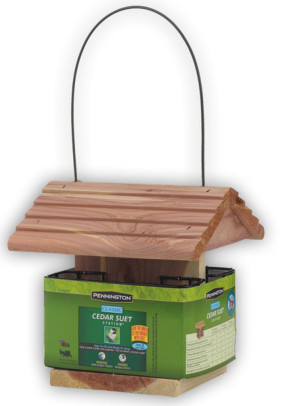 Pennington Cedar Suet Station Bird Feeder Brown 4ea