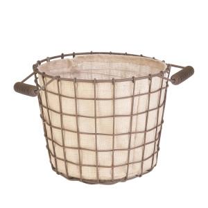 Panacea Small Rustic Woven Wire Bushel Basket with Burlap Liner Rust 6ea/10In