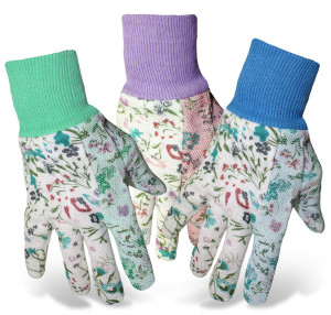 Boss Ladies Print Cotton Glove Dot Palm Knit Wrist Green Purple Blue 12ea/Small