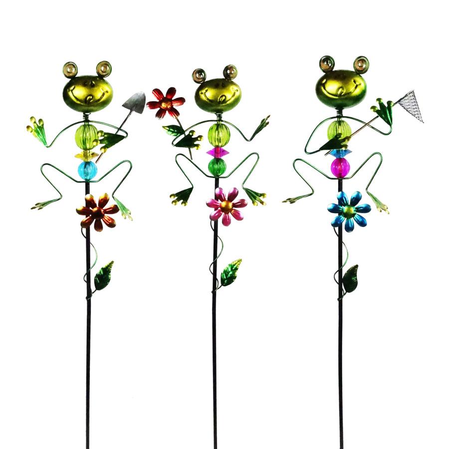 Alpine Fun Frog Metal & Glass Garden Stake Multi 9ea/One Size