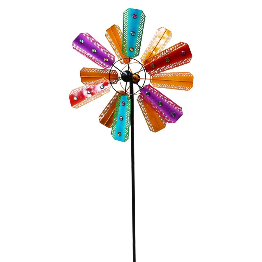 Alpine Kinetic Wind Spinner Garden Stake Colorful with Gems 2ea/One Size