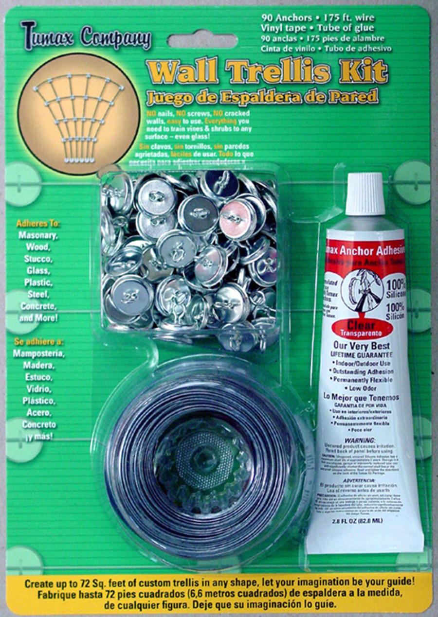 Tumax Wall Trellis Kit Anchors Wire Tape Glue Assorted 8ea