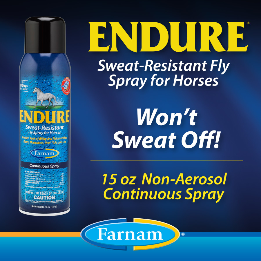 Farnam Endure Sweat-Resistant Fly Spray for Horses, 14-day Long Lasting Protection,