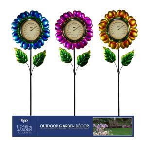 Alpine Glossy Metallic Flower Thermometer Stake Display 12ea