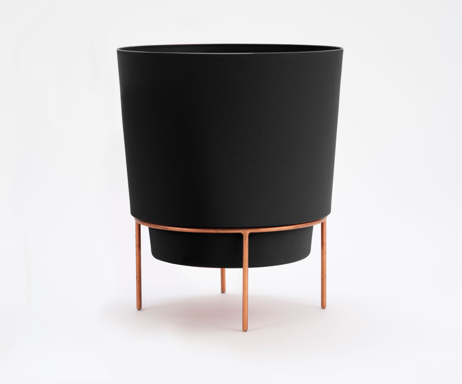 Bloem Hopson Planter with Metal Stand Black 7ea/6 in