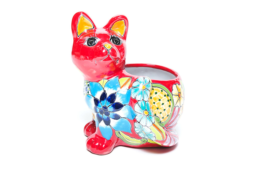 Talavera Cat Planter Multi-Color 4ea