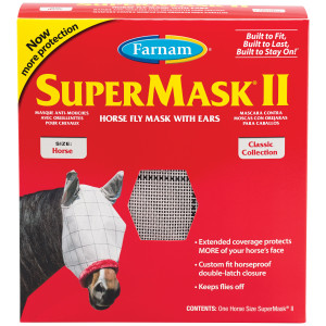 Farnam SuperMask II Classic Horse Fly Mask with Ears, for Eye Protection From Insects and Debris, Assorted 12ea/Horse
