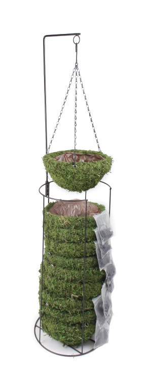 Supermoss Natural Moss Hanging Basket Round Preserved Spring Green 1ea/Small