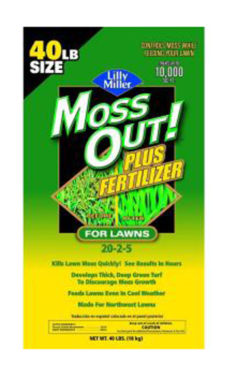 Lilly Miller Moss Out! For Lawns Plus Fertilizer No Phosphorous 20-0-5 1ea/40 lb