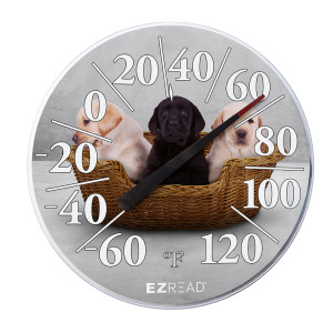 E-Z Read Dial Thermometer with Puppies 6ea/12.5 in