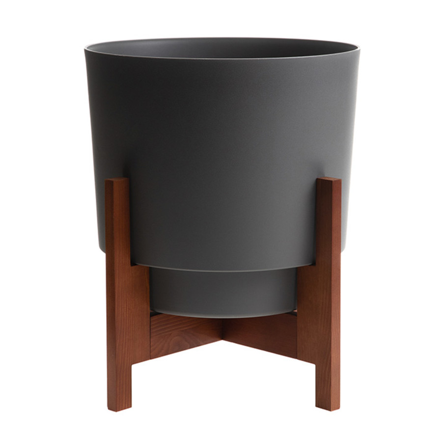Bloem Hopson Planter With Wood Stand Charcoal 3ea/14 in