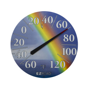 E-Z Read Dial Thermometer with Rainbow Multi-Color 6ea/12.5 in