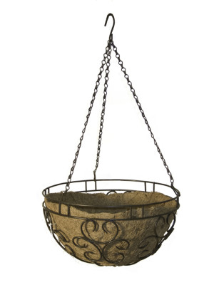 Panacea Cameo Hanging Basket With Liner Brown 6ea/14 in