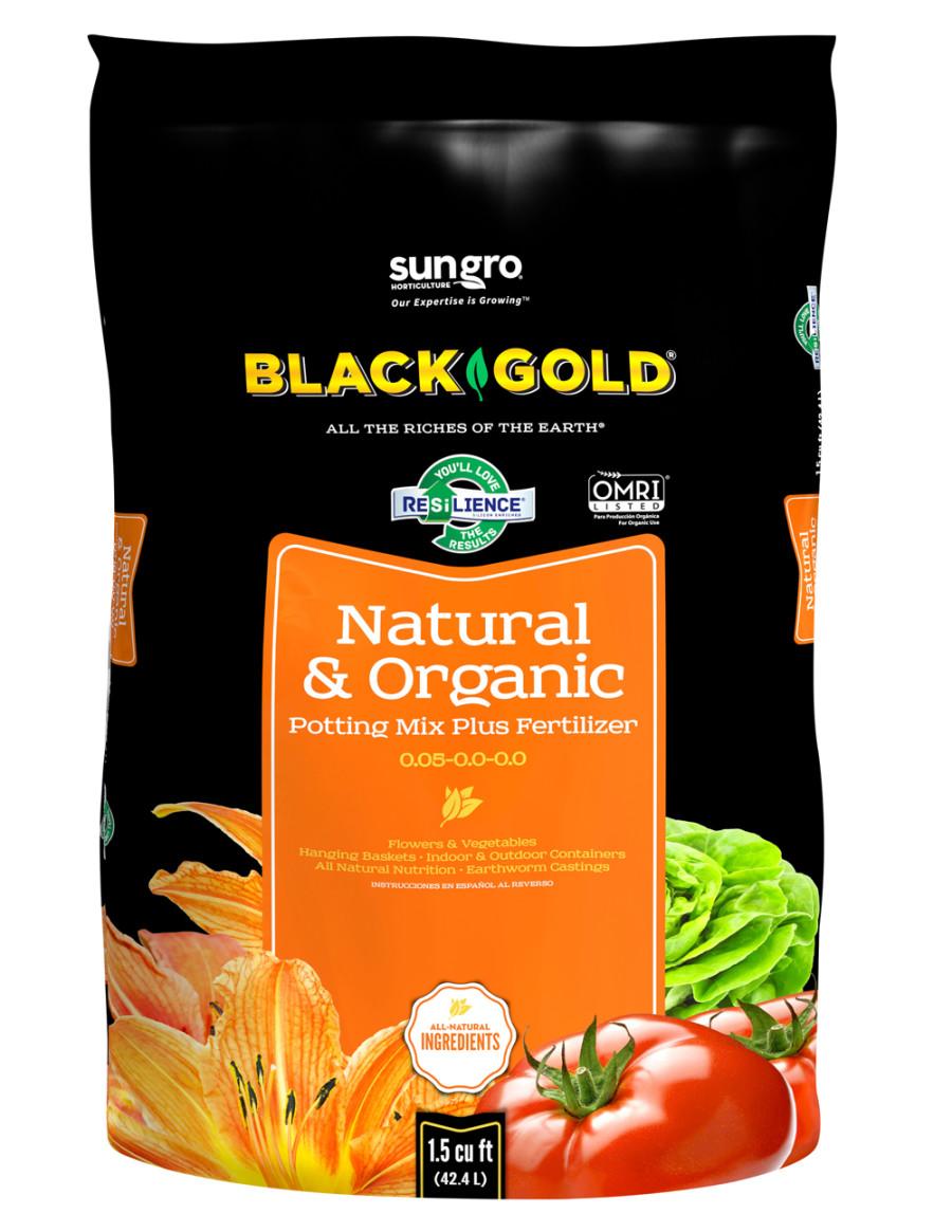 Black Gold Natural & Organic Potting Soil Plus Fertilizer 0.05-0.0-0.0 1ea/1.5Cuft