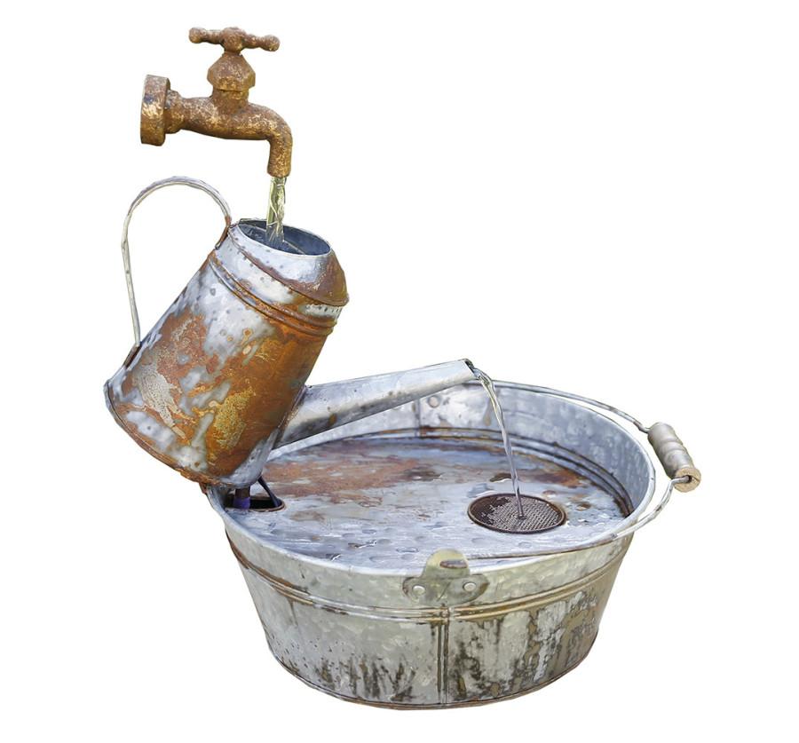 Alpine Rustic Metal Fountain Watering Can Silver 1ea/14 In. X 15 In. X 18 in