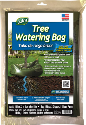 Dalen Tree Watering Bag with Stake & Drippers Green 10ea/14Inx22 in