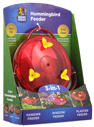 Classic Brands More Birds® 3 in 1 Hummingbird Feeder Red 4ea/6 oz
