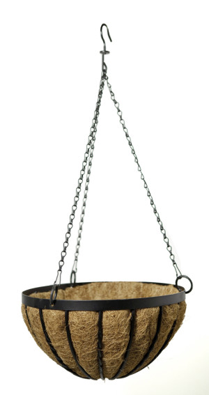 Panacea Cottswold Hanging Basket With Liner Black 6ea/14 in